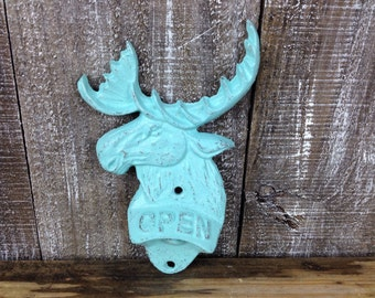 Moose Bottle Opener, Distressed Light Blue Cabin Beer Opener, Wall Mount Kitchen Tool, Lodge Decor, Mountain Man Cave, Rustic Cast Iron