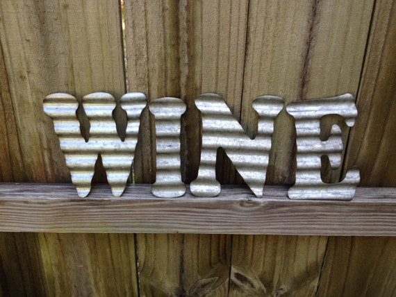 galvanized metal letters wine industrial wall decor by. Black Bedroom Furniture Sets. Home Design Ideas
