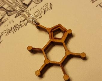 Laser Cut Caffeine Molecule Necklace