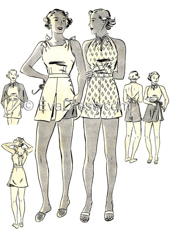 1930s Fashion Colors, Clothing & Fabric 1936 Swimsuits Multi-size Pattern by EvaDress  AT vintagedancer.com