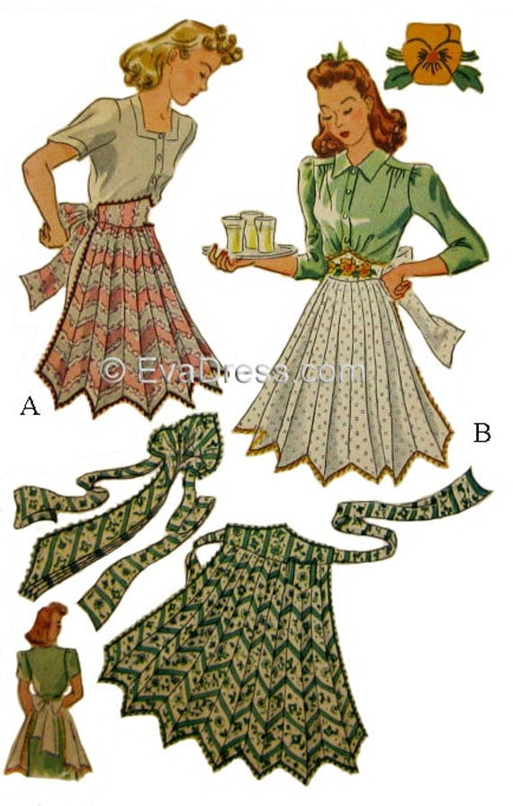 Vintage Aprons, Retro Aprons, Old Fashioned Aprons & Patterns 1941 Necktie Apron Pattern one size by EvaDress Patterns  AT vintagedancer.com