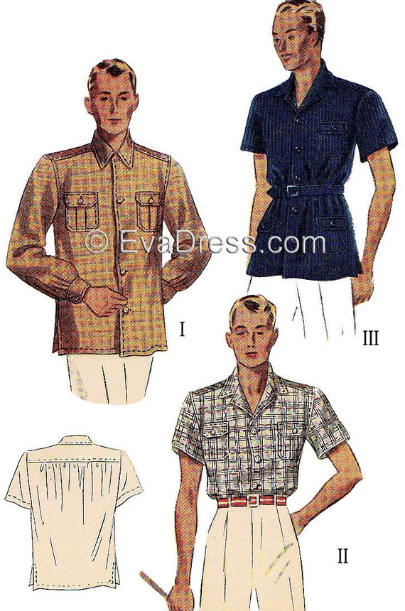 Men's Vintage Reproduction Sewing Patterns 1937 Mens Shirt EvaDress Pattern - Multi-size $15.00 AT vintagedancer.com