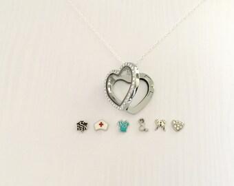 Floating Locket Nurse Necklace, RN Necklace, Gift for Nurse, Nurse Necklace, Nursing Graduation Gift, Nurse Floating Charms, RN Gifts
