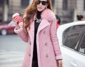 Pink/ Black Sheepskin Coat, Winter Thick Wool Fur Coat, Winter Sheepskin Coat for Woman, Long Wool Fur Winter Coat, Fox Fur Winter Coat