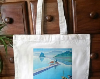 Cotton tote bag with reproduction vintage travel poster print - Bag 02