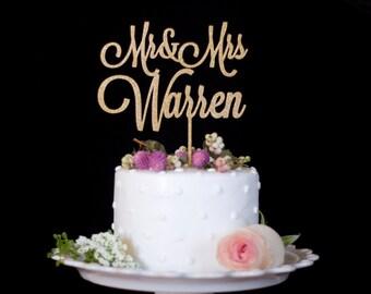 Custom Mr and Mrs Wedding Cake Topper-Gold