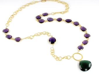 Emerald Quartz Pendant Necklace with Amethyst Quartz Gemstones 14 Karat Gold Filled