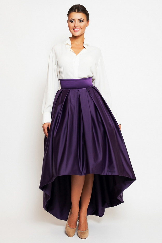 evening maxi skirt asymmetrical purple formal skirt by