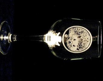 Hedgehog Wine Glasses - (Set of 2) - Etched Glass