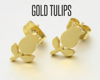 Gold Tulip Stud Earrings, Tulip Earrings, Tulip Jewelry, Tulip Studs, Tulip Ear Posts, Flower Earrings, Flower Studs, Flower Ear Posts