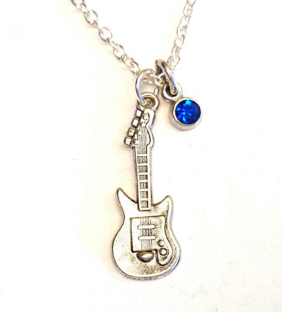 guitar necklace guitar charm guitar by gustavsdachshundshop