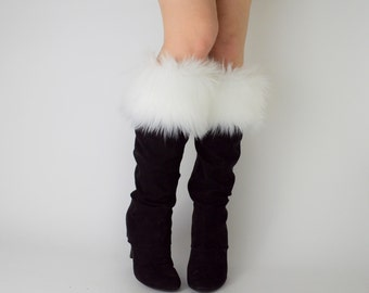 White Fur Boot Cuffs FREE SHIPPING - Fur Cuffs, Faux Fur Boot Socks, Boot Toppers, White Faux Fur Boot Covers, Fur Leg Warmers
