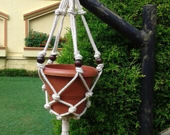 "32"" Natural macrame plant hanger,pot holder,bird feeder,hanging planter indooor ,outdoor, small rope planter,"