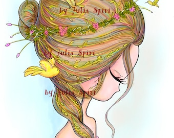 Digital Stamps, Digi stamp, Coloring pages, Hair stamps, Fantasy, Scrapbooking printable. The Fantasy Hair Collection. The Birds and Hair