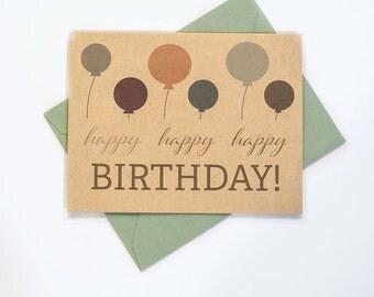 Birthday Card, Kraft Birthday Card