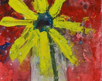 Art on Sale. Acrylic Flower Painting. Large Yellow Daisy Flower. Still Life Floral Painting. Office Wall Decor. 207