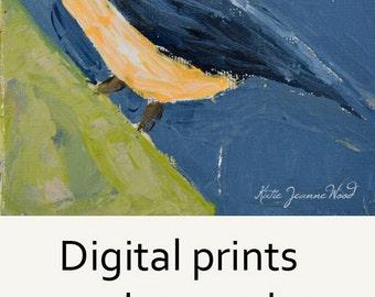 Indigo Blue Nuthatch Bird Wildlife Animal Wall Art Print. Blue & Green Modern Office Wall Art. 88
