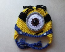 Minion hat Despicable Me One Eyed Minion Crocheted hat for babies - Made to order