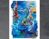 Legend of Zelda the Wind Waker by Cole Brenner, Sail Away with Me, Video Game Art, 13x19, Art Print, Nintendo Gifts, Gifts for Gamers, Link