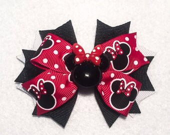 Minnie Mouse Hair Bow - 3.5 inch Pinwheel Bow with Embellishment - Black and Red Polka Dot - Birthday, Christmas, Stocking Stuffer for Girls