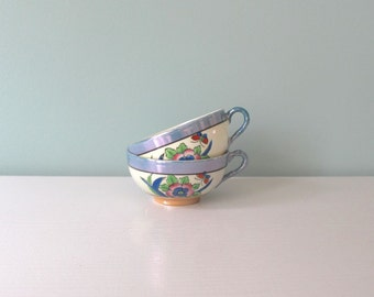 Vintage Tea Cups, Lusterware, Hand Painted, Floral Tea Cups, Butterfly, Iridescent, Bamboo Handle, Summer Cups, Set of 2, Blue Pink Green