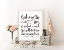 Bible verse art, Printable art, God is in the midst of her, Psalm 46 5 print, Girl nursery scripture print, Bible verse art print, Bible art