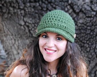 Newsboy womens hat, winter hat with brim, crochet beanie with visor, winter fashion accessories MP020
