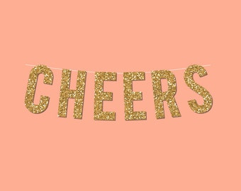 Cheers Gold Sparkly Banner - Digital Printable Instant Download