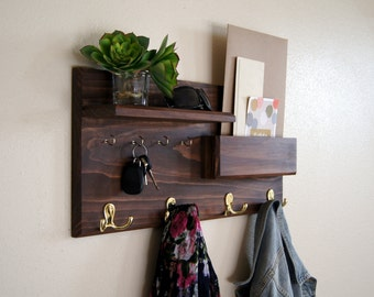 Entryway Organizer Solid Wood Handmade Coat Rack with Shelf Mail Pocket Key Hooks Back to School Organization