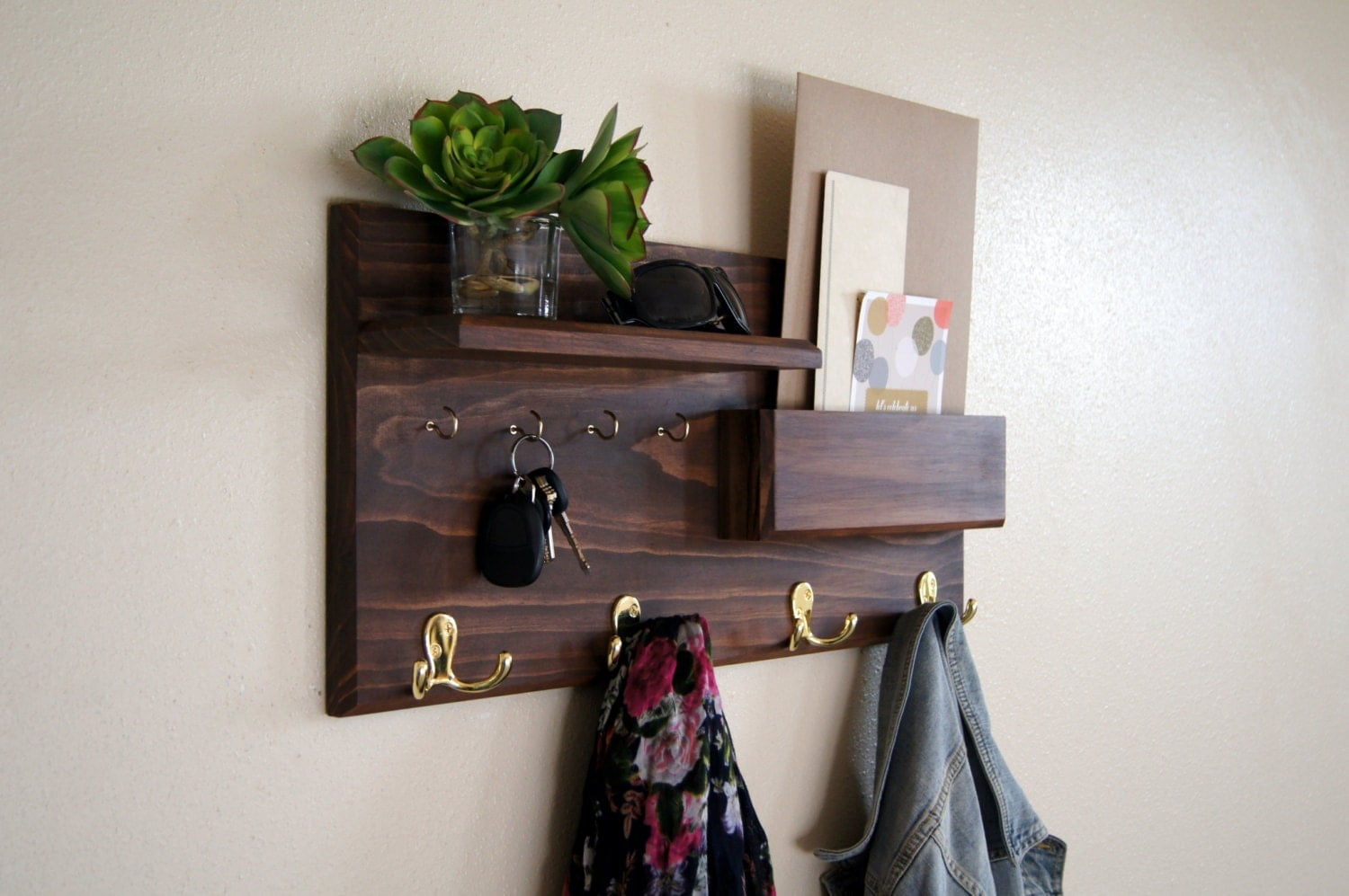 entryway organizer solid wood handmade coat rack with shelf. Black Bedroom Furniture Sets. Home Design Ideas