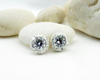 White Topaz CZ Studs, Nautical Coral Earrings, Crystal Earrings in Fine Silver