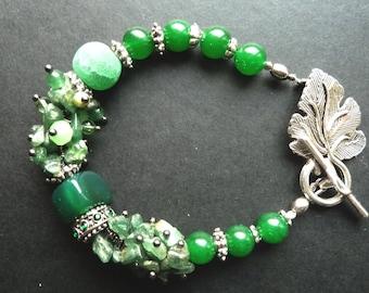 Green Gemstone Bracelet, Agate, Chrysoprase, Jade, Nature Stone, Victorian Style, Chunky Bracelet, Green Gemstone, Gift for Her, Boho Style