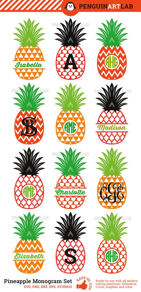 Pineapple Svg Cut Files Monogram Frames And By Penguinartlab