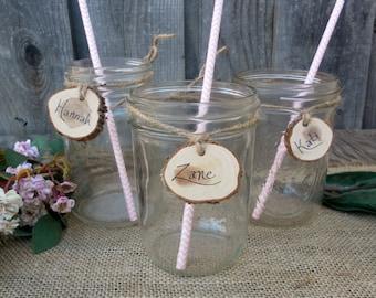 Wood Slice Mason Jar Wine Charms ~Rustic Drink Tags, Light Brown Jute Twine ~ Summer Wedding