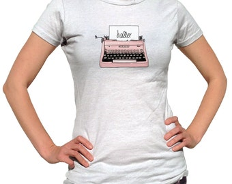 Author Shirt - Pink Typewriter Shirt - Secretary Tshirt - Old Typewriter - Writer Shirt - Author Present - Gift For Journalist