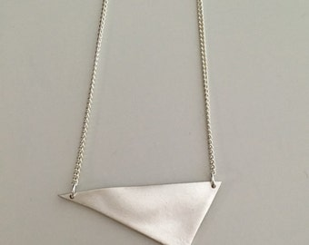 Irregular triangle, pendant necklace, fine silver with sterling silver chain