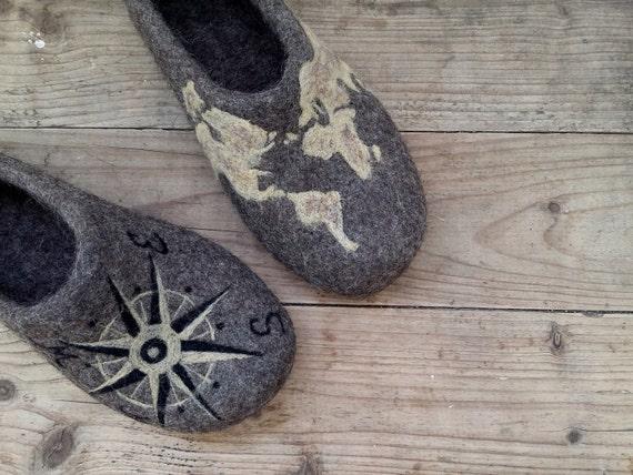 Felted Art shoes men, Custom design, Personalized, Felted slippers, Husband, Groomsmen, Best Man , Teacher