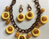 This Is the Modern World - Mid-Century Modern Necklace and Earring Set in Shades of Yellow and Brown on a Tortoise Shell Chain