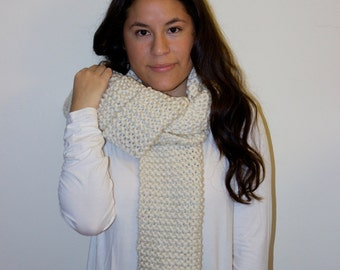 Knit Scarf . Chunky Scarf . Knitted Scarf . Chunky Knit Scarf . Ribbed Scarf . Long Scarf . Off White Scarf . Ivory Scarf