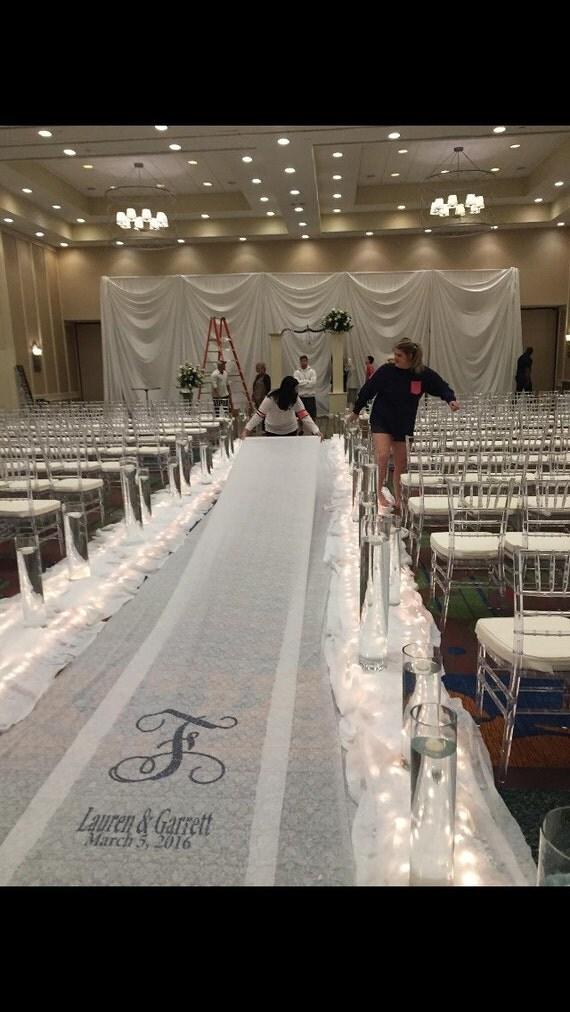 wedding aisle runner monogrammed glitter vinyl