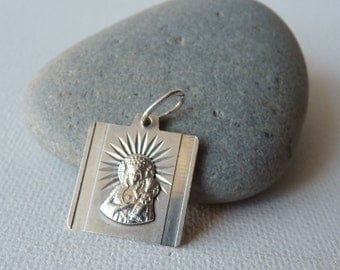 Vintage Sterling Silver Mother of Jesus Pendant, Virgin Mary, Our Lady, Square Religious European Pendant, Vintage Christian Jewelry 60's