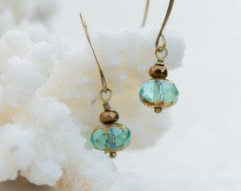 Aqua Earrings, Brass and Turquoise Glass Earrings, Everyday Earrings, Gift for girlfriend, Bridal Earrings, Blue Earrings, Simple Jewelry