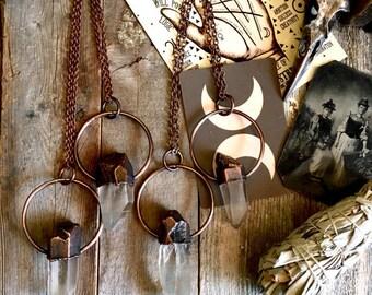 Raw Crystal Necklace Clear Quartz Pendant Big Healing Stone Jewelry Chunky Jewelry Bohemian Necklace Boho Hippie Druzy Copper Electroformed