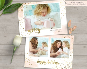 christmas photo card, christmas photo template, merry card template, photo template photographers, merry calligraphy, happy holidays card