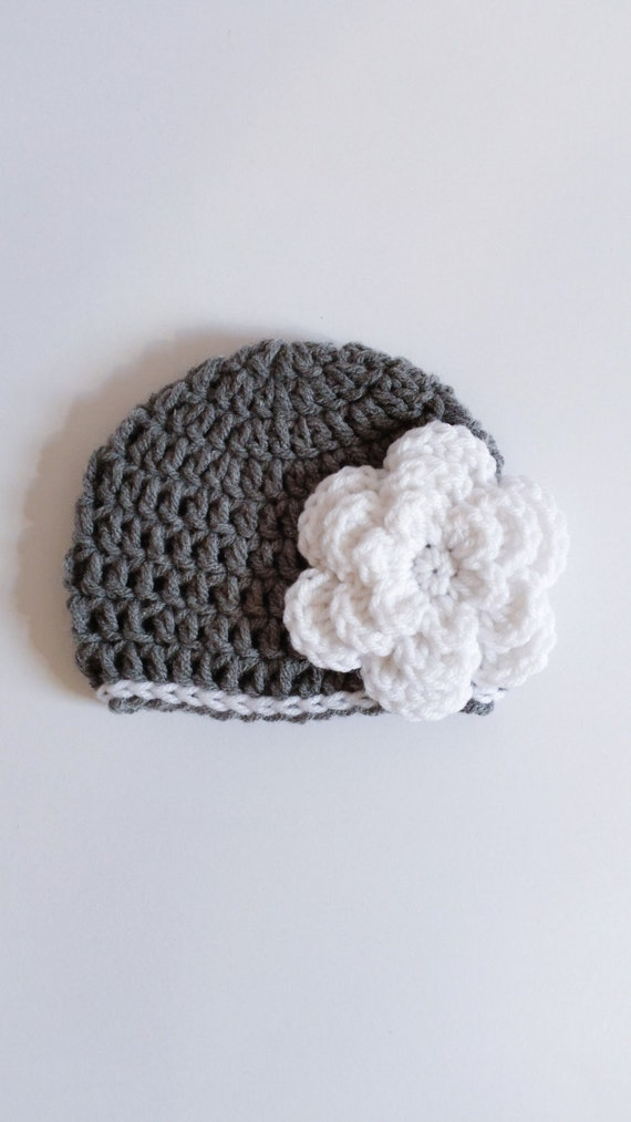 Newborn Girl Grey Hat w/ White Flower Crochet Hat Gift Newborn Beanie Girl Baby Shower Girl Gift Ideas Ready To Pop Easter Gift Kids