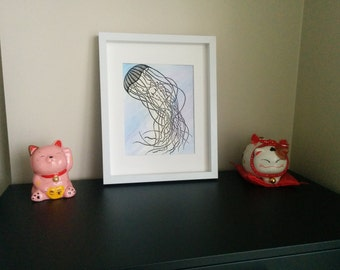 Block Print Jellyfish with Watercolour Hand Pulled