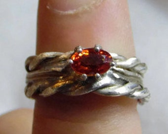 Natural, Sri Lankan, Padparadscha Sapphire  Ring.  Single Stright Shank with Twisted Bands on either  side.  Three Band Wedding Set.