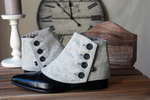Steampunk Boots and Shoes for Men Mens Spats wool flannel Silver Grey - Dapper Men - Gaiters spats spatterdash $84.99 AT vintagedancer.com