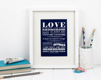 Framed love bible verse - 1 Corinthians 13:4-8 - Christian Gifts - Christian Print - Faith Prints - Gift for Him - Gift for Her