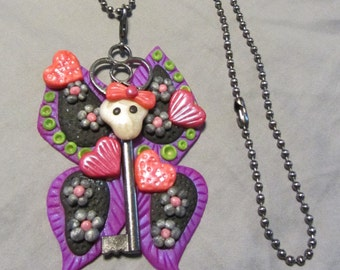 Polymer Clay Jewelry Sugar Skull Butterfly Skullerfly Skeleton Key Pendant Ball Chain Necklace Purple/Green/Black